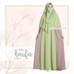 HAYFA DRESS SET + KHIMAR + CADAR GREEEN HIJAB AMINA
