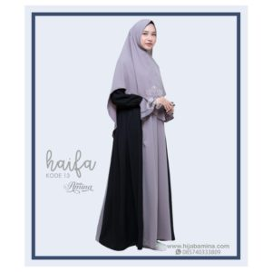 HEIFA SET KHIMAR 13 GREY BLACK HIJAB AMINA..