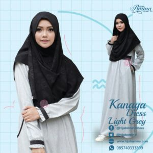 KANAYA DRESS LIGHT GREY HIJAB AMINA.